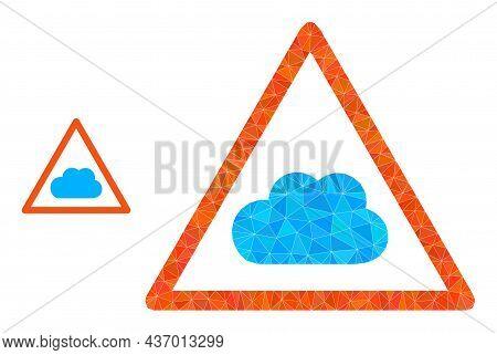 Low-poly Cloud Warning Icon On A White Background. Flat Geometric Polygonal Symbol Based On Cloud Wa