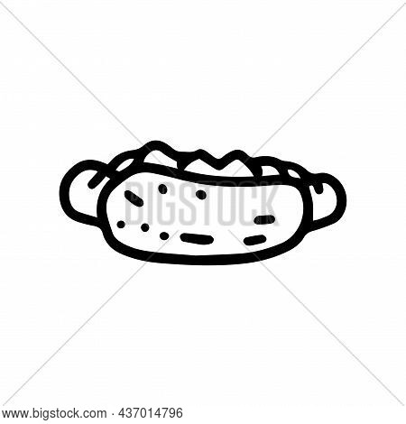 Hot Dog Line Vector Doodle Simple Icon