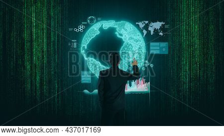 Stock Market Graph And Business Financial Data Technology Global Network. Business Graph And Stock F