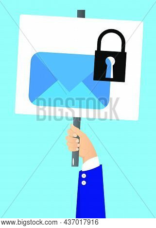 Hand Holding Up A Banner With Sending Encrypted E-mail Protection Blue Secure Mail Internet Symbol.