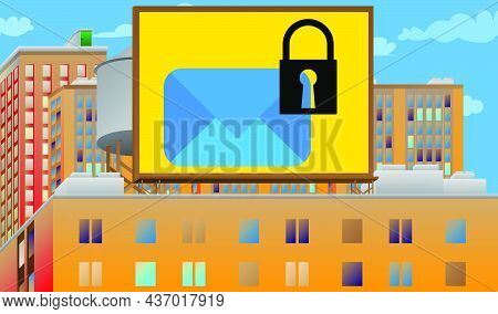Sending Encrypted E-mail Protection Blue Secure Mail Internet Symbol On A Billboard Sign Atop A Bric