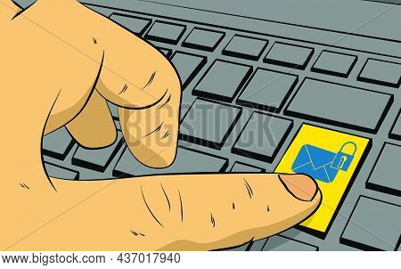 Sending Encrypted E-mail Protection Blue Secure Mail Internet Symbol On Computer Keyboard. Man Push