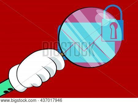 Sending Encrypted E-mail Protection Blue Secure Mail Internet Symbol Under Magnifying Glass Illustra