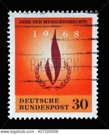 ZAGREB, CROATIA - JUNE 27, 2014: Stamp printed in Germany showing a laurel and wreath, Year of Human Rights, circa 1968