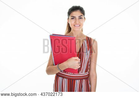 Pretty Brunette Smiling Business Woman Happy At Camera In Studio Shot Background