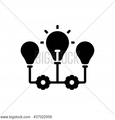 Black Solid Icon For Implications Conclusion Indication Inference Suggestion Bulb