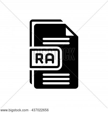 Black Solid Icon For Ra Raw File Format Document Paper Text