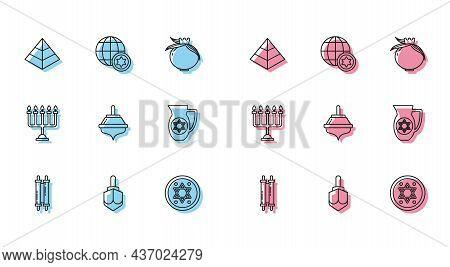Set Line Torah Scroll, Hanukkah Dreidel, Egypt Pyramids, Jewish Coin, Decanter With Star Of David, M
