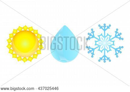 Set Of Weather Symbol Isolated On White Background. Sun, Raindrop And Snowflake Icon For Forecast De