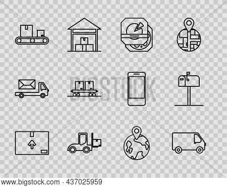 Set Line Cardboard Box With Traffic Symbol, Delivery Cargo Truck Vehicle, Pizza In Cardboard, Forkli