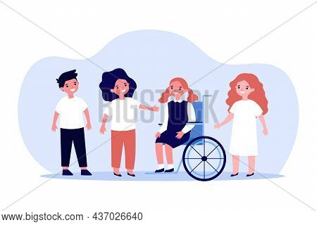 Happy Girl With Disability With Group Of Friends. Child Sitting In Wheelchair Flat Vector Illustrati