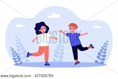 Little Kids Roller Skating Together. Girl And Boy Rollerblading With Fun Flat Vector Illustration. B