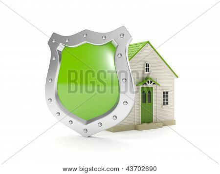 3D Illustration: Home Shield, Protecting Your Home, Home Insurance
