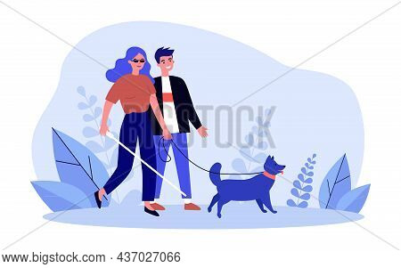 Blind Woman Walking With Man Helper And Guide Dog. Person With Physical Disability Holding Stick Fla