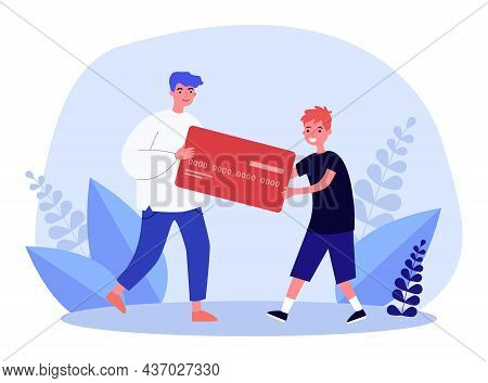 Father Giving Credit Card To Son. Tiny Man And Boy Holding Card Together Flat Vector Illustration. F