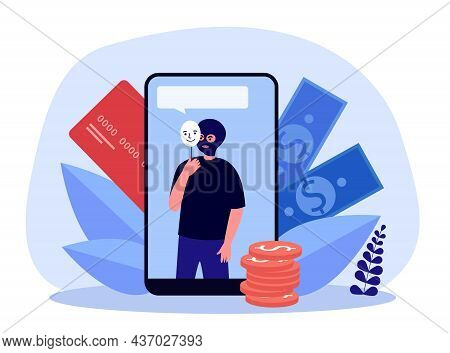 Thief On Mobile Phone Screen Stealing Money. Criminal Hacker Holding Friends Mask For Hacking Flat V