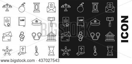 Set Line Old Hourglass, Courthouse Building, Judge Gavel, Stage Stand Or Debate Podium Rostrum, Law