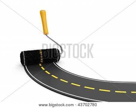 3D Illustration: The Creation Of The Pavement. Roller And The Road