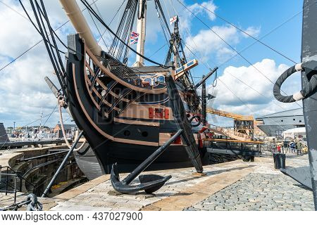 Portsmouth, United Kingdom - 6 October 2019: Hms Victory The Admiral Horatio Nelson\'s Flagship At T