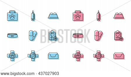 Set Line Veterinary Clinic Symbol, Pet First Aid Kit, Bed, Dog And Pills, Clipboard With Medical Cli