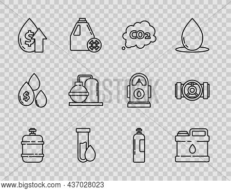 Set Line Propane Gas Tank, Co2 Emissions Cloud, Oil Petrol Test Tube, Price Increase, And Industrial