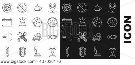Set Line Chassis Car, Timing Belt Kit, Gear Shifter, Canister For Motor Machine Oil, Flasher Siren,