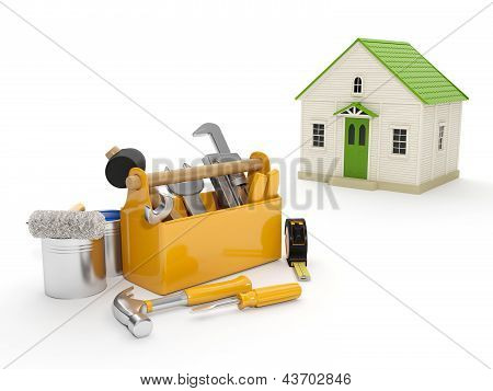 3d illustration: Repair and construction of the house. Tool box and a house in the background. The white background isolated poster