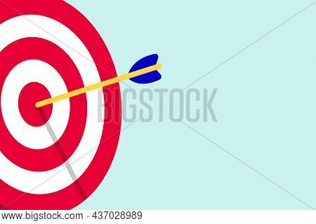Red White Target With Arrows In The Bullseye With Shadows On It. Goal Achieving Symbol Icon Sign Vec