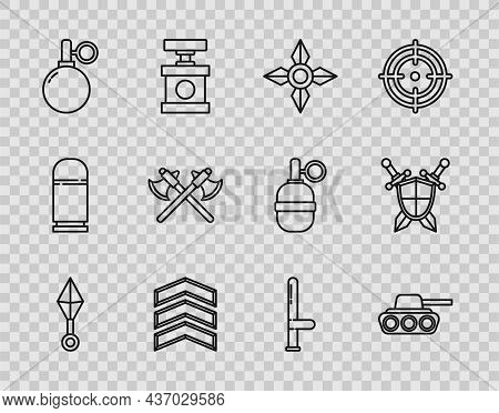 Set Line Japanese Ninja Shuriken, Military Tank, Rank, Hand Grenade, Crossed Medieval Axes, Police R