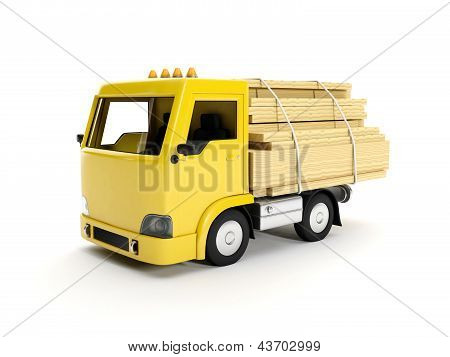 3D Illustration: A Group Of Boards And Truck. Delivery Of Goods