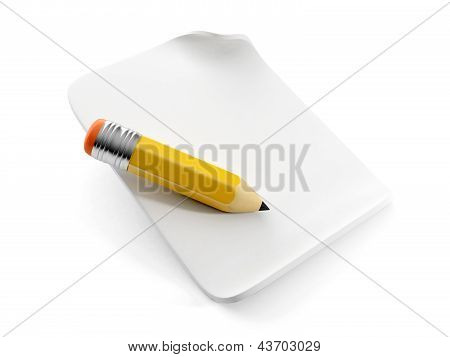 3D Illustration: Pencil On A Sheet Of White