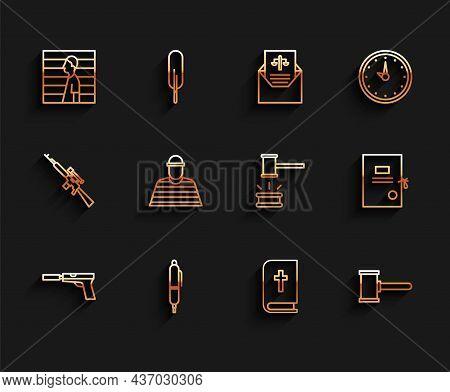 Set Line Pistol Or Gun With Silencer, Pen, Suspect Criminal, Holy Bible Book, Judge Gavel, Prisoner,