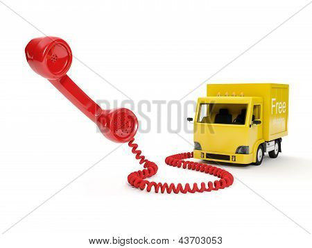 3D Illustration: Order Of Freight Traffic On The Telephone
