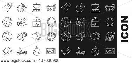Set Line Futuristic Hud Interface, Space Capsule And Parachute, Sun, Planet Saturn, Planet, Mars, Sa