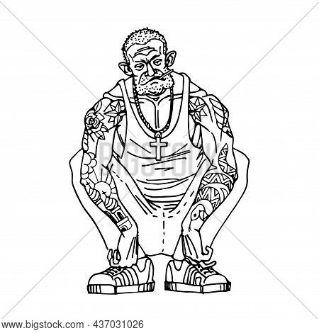 A Gang Leader, A Criminal. A Bald Guy With A Tattoo, Squatting. A Dangerous Character. Vector Illust