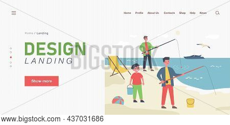 Cartoon Father Fishing At Beach With His Sons. Flat Vector Illustration. Kids Enjoying Their Summer