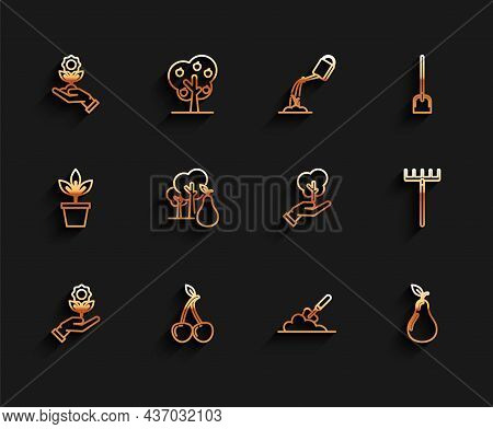 Set Line Hand Holding Flower, Cherry, Garden Trowel Spade Or Shovel The Ground, Pear, Tree With Pear