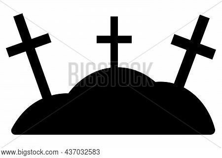 Crosses On The Hills. Silhouettes. Night Cemetery. Memorial To Memory. Vector Illustration. Isolated