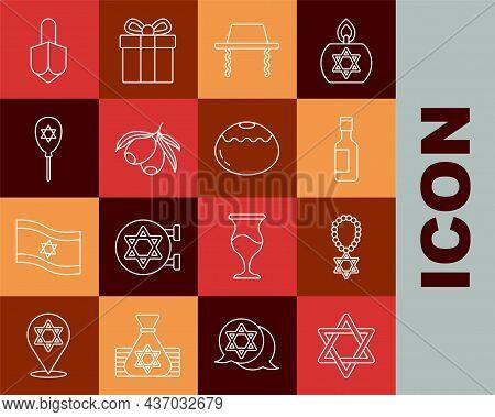 Set Line Star Of David, Necklace On Chain, Jewish Wine Bottle, Orthodox Jewish Hat, Olives Branch, B