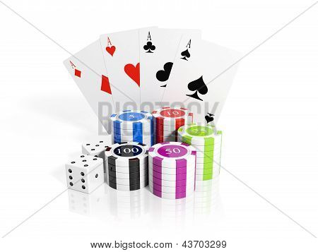 3D Illustration: Playing Chips, Cards And Dice. Casino