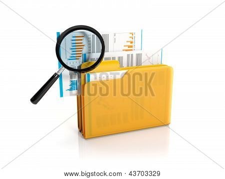 3D Illustration: Big Yellow Folder With A Magnifying Glass. Finding A File