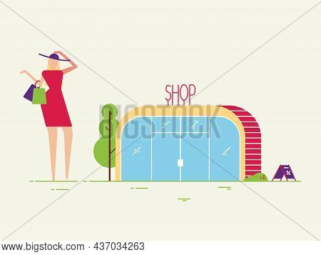 Woman Near Shop Building With Packages Vector Illustration Flat Style. Tree, Grass And Outdoor Envir