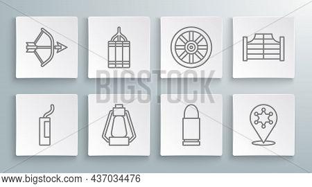 Set Line Dynamite Bomb, Camping Lantern, Bullet, Hexagram Sheriff, Old Wooden Wheel, Saloon Door And