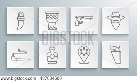 Set Line Smoking Pipe, Drum, Tequila Bottle, Hexagram Sheriff, Revolver Gun Holster, Cowboy And Toot