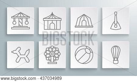 Set Line Balloon Dog, Circus Tent, Ferris Wheel, Beach Ball, Hot Air Balloon, Balalaika And Attracti