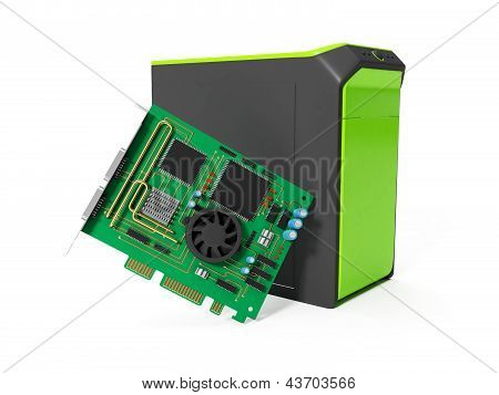 3D Illustration: System Unit And A Chip On A White Background