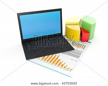 3D Illustration: A Laptop And A Schedule Of Business On A White Background