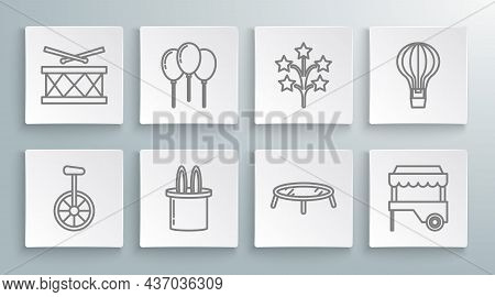 Set Line Unicycle Or One Wheel Bicycle, Magician Hat And Rabbit Ears, Jumping Trampoline, Fast Stree