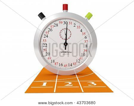 3D Illustration Of Sports Track And Stopwatch On A White Background, Isolated