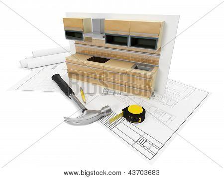 3D Illustration: Designing, Sozdinie, Design Furniture For The Kitchen. Kitchen Set Tools.